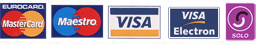 We accept Mastercard, Maestro, Visa, Visa Electron and Solo